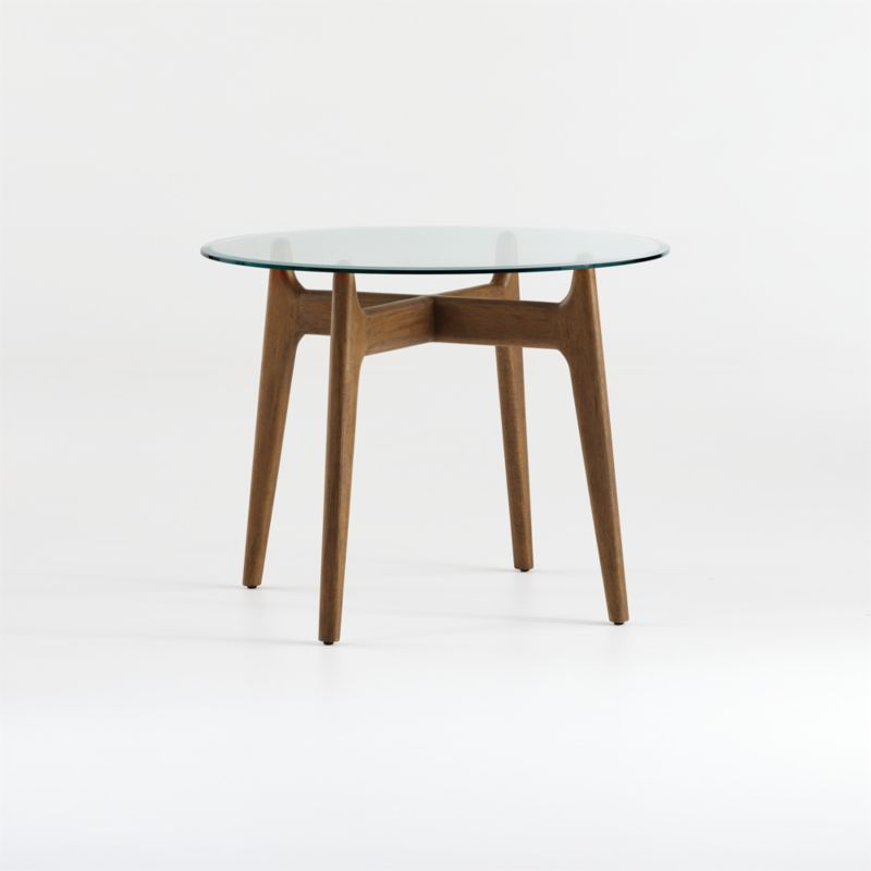 Shop Tate 38 Round Dining Table With Glass Top And Walnut Base