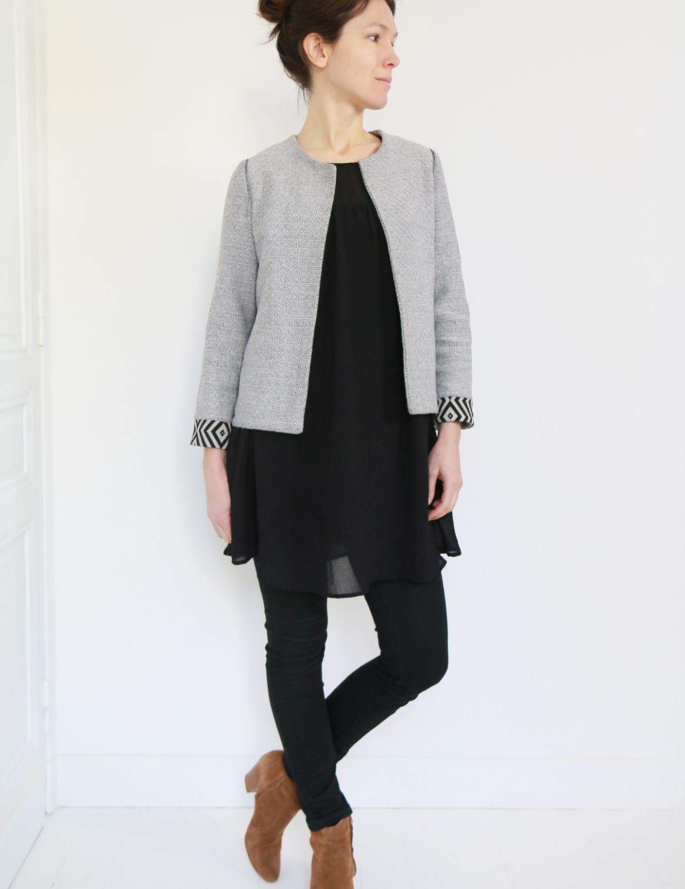Patron pour veste femme sans col
