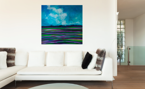 """Lavender Abstract landscape painting in Art,Original artwork of Purples, greens blues,, 24"""" x 24"""" Title: Lavender Fields. https://www.etsy.com/listing/204899402/lavender-abstract-landscape-painting-in?ref=shop_home_active_21"""