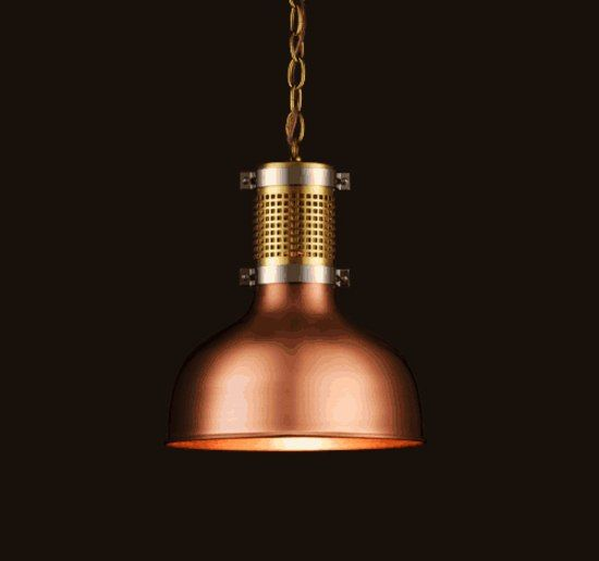 An industrial design in luxury materials: Lobmeyr's copper pendant light for the 1516 Brewery in Vienna. There is also a wall version.