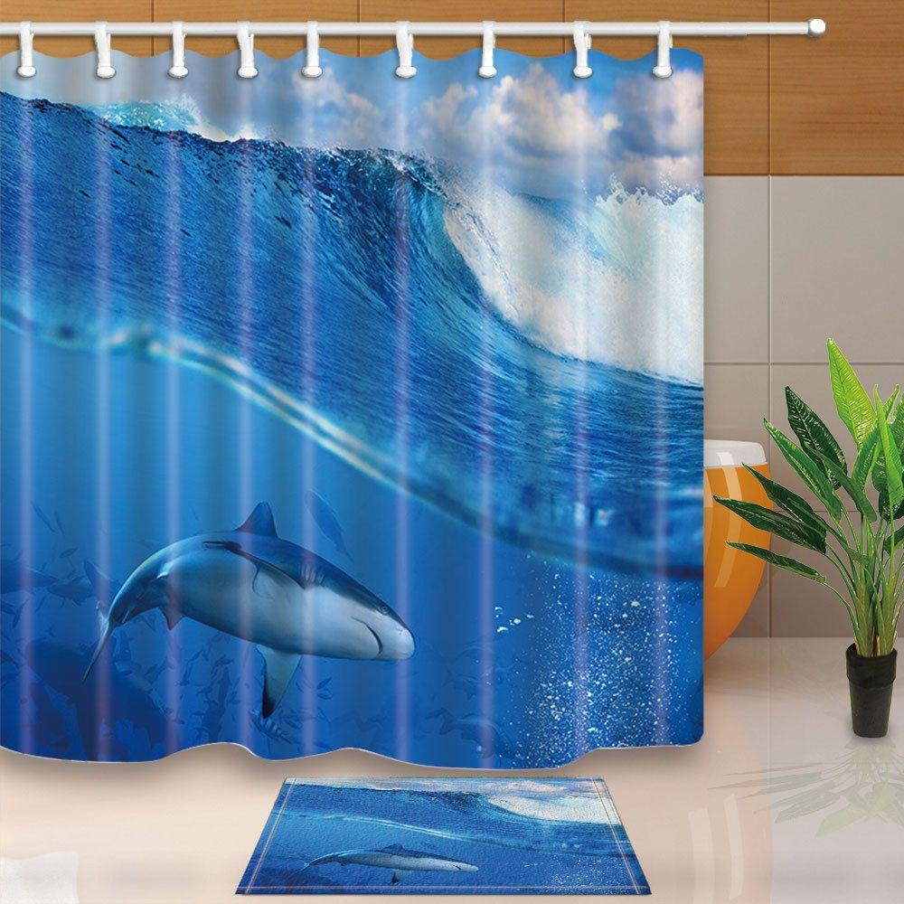 Shark Under The Sea Shower Curtain Bathroom Waterproof Fabric
