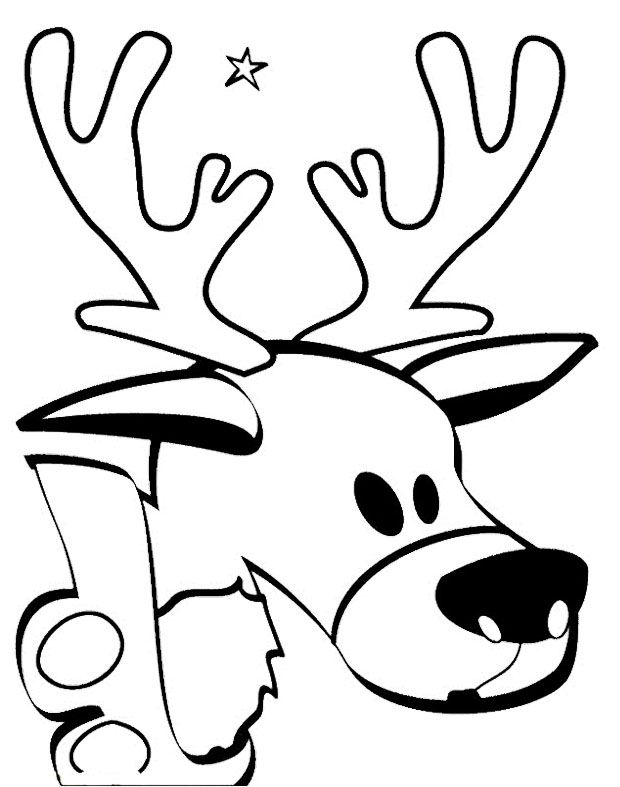 Cartoon Deer Head Coloring Pages | Kids Coloring Pages | Pinterest