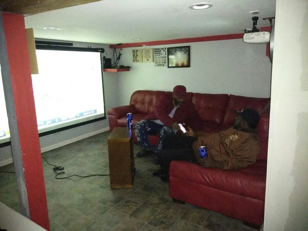 Watching the football game in the man cave Man cave