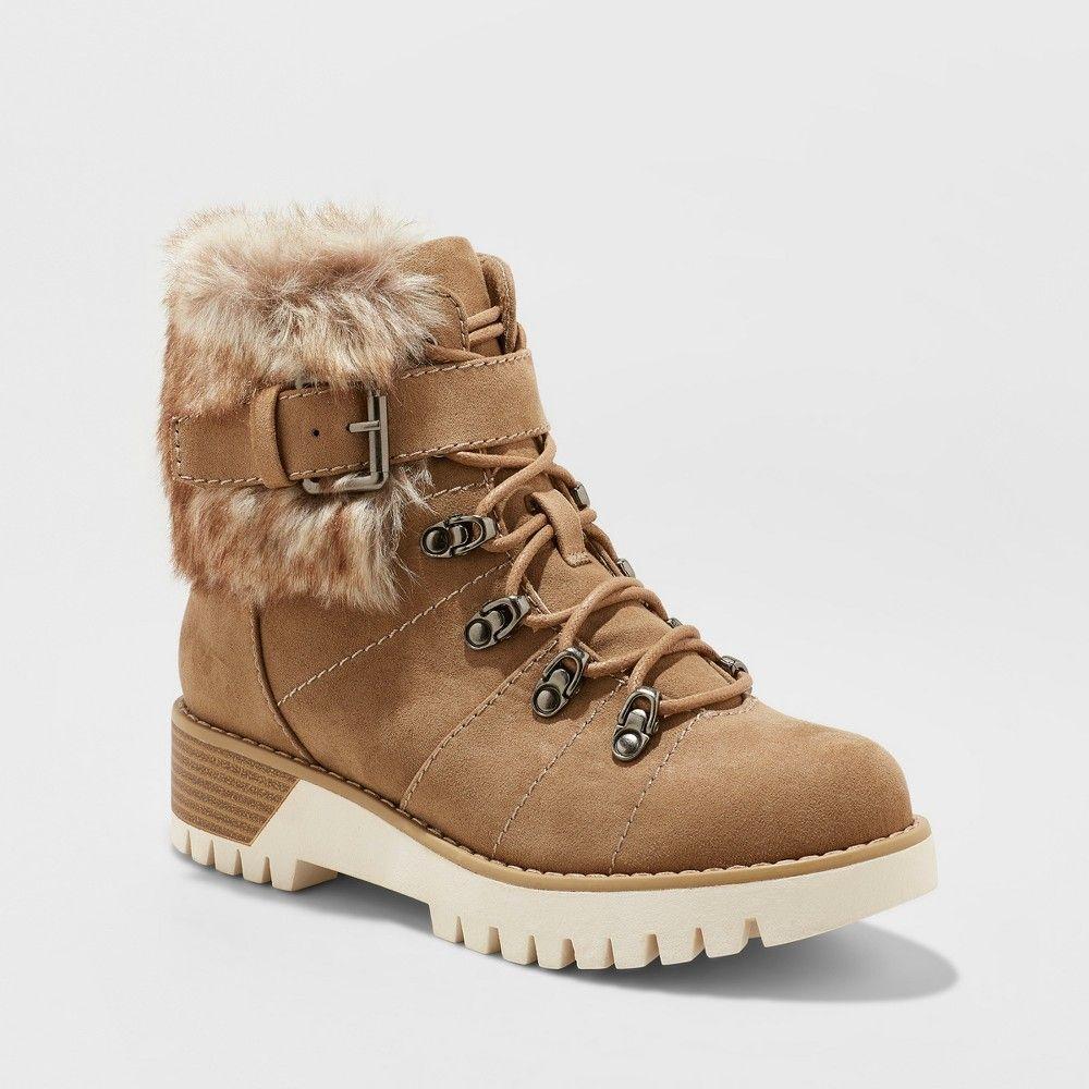 Women's Deanna Faux Fur Lace Up Hiker Boots Universal