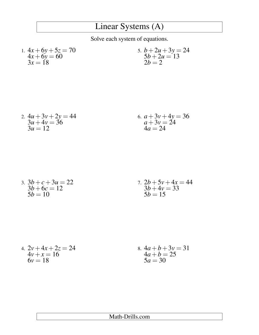The Systems Of Linear Equations Three Variables Easy A Math Worksheet Fr Graphing Linear Inequalities Graphing Linear Equations Word Problem Worksheets