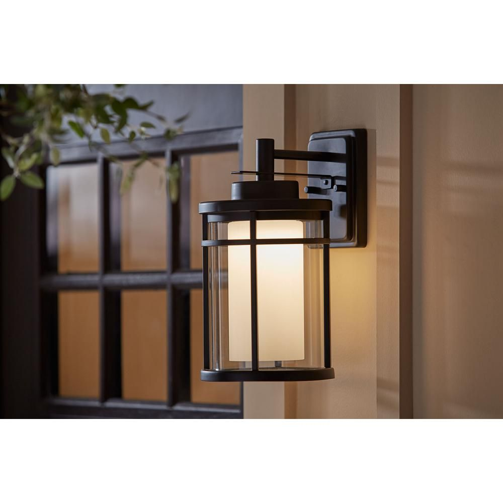Home Decorators Collection Black Outdoor Led Wall Lantern Sconce Dw7178bk The Home Depot In 2020 Outdoor Wall Lighting Wall Lantern Sconces