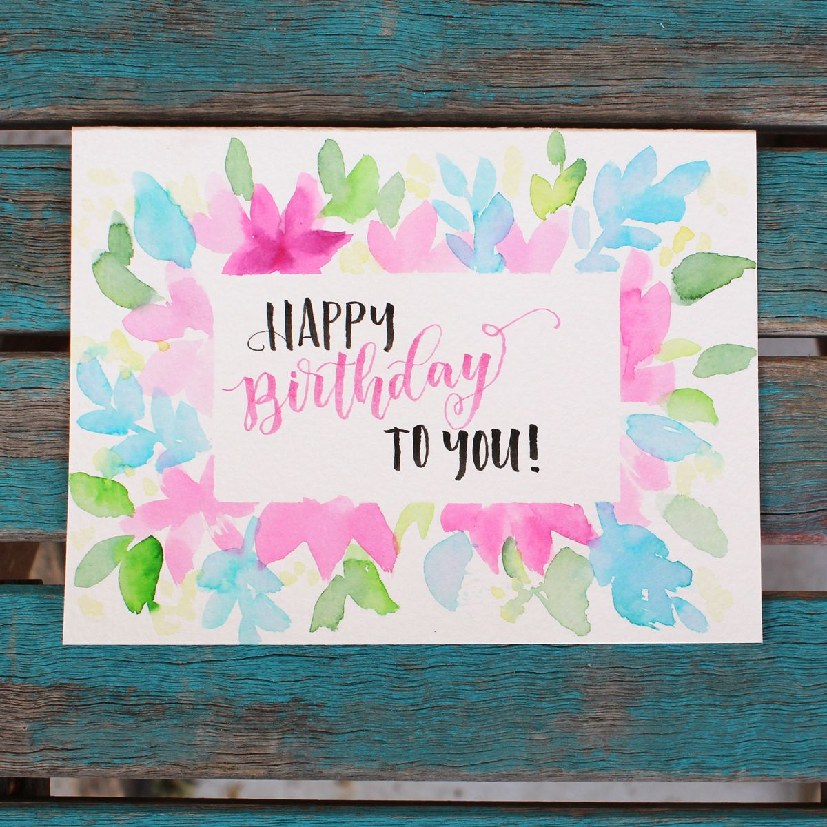 Watercolor Greeting Card Tombow Usa Blog Birthday Card Drawing Watercolor Hand Lettering Watercolor Birthday Cards