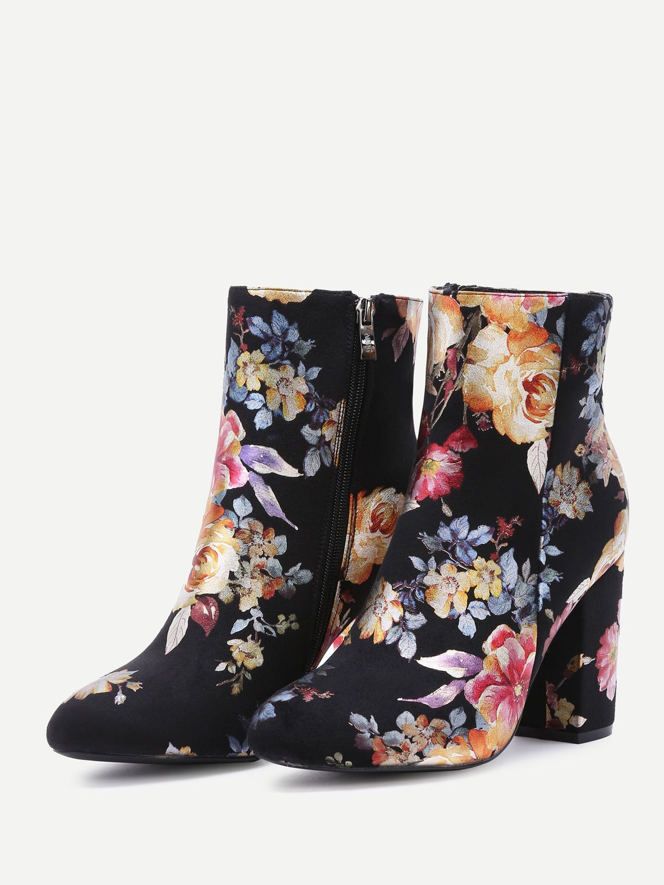 fe50a26910 Black Flower Print Suede Point Toe Chunky Boots -SheIn(Sheinside ...