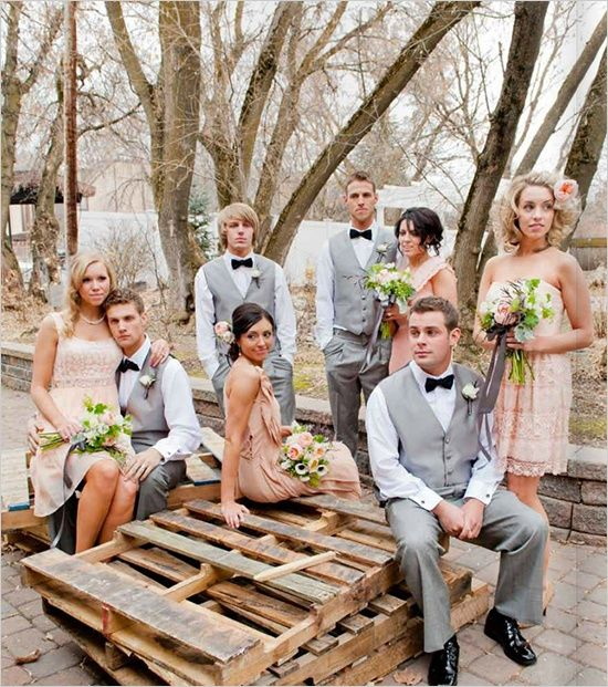 Wedding Pictures Gray And Peach Bridal Party