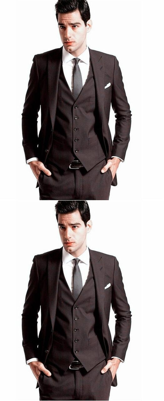 2016 Custom Made Mens\' Wedding Tuxedos Groom Dark brown Suits ...