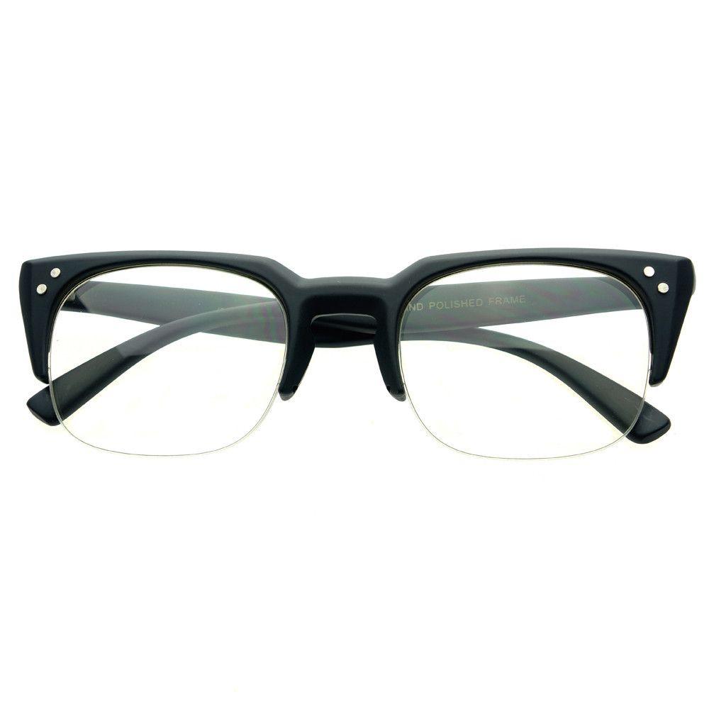 clear lens wayfarer nerdy geek half frame square
