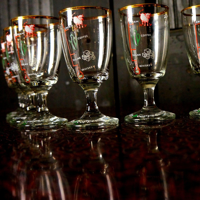 Waterford Crystal Irish Coffee Gles 1950s Vintage Barware Set Four 4 Recipe Bar Shamrocks Cows Whiskey Cream