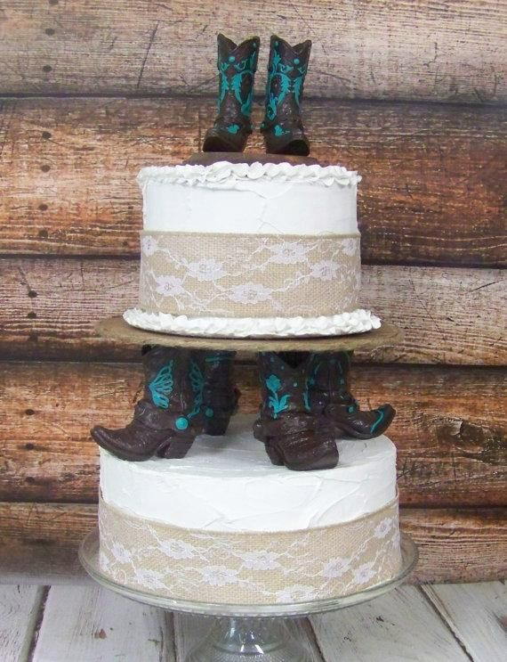 Rustic Cake Topper His And Her Western Cowboy Boots Wedding