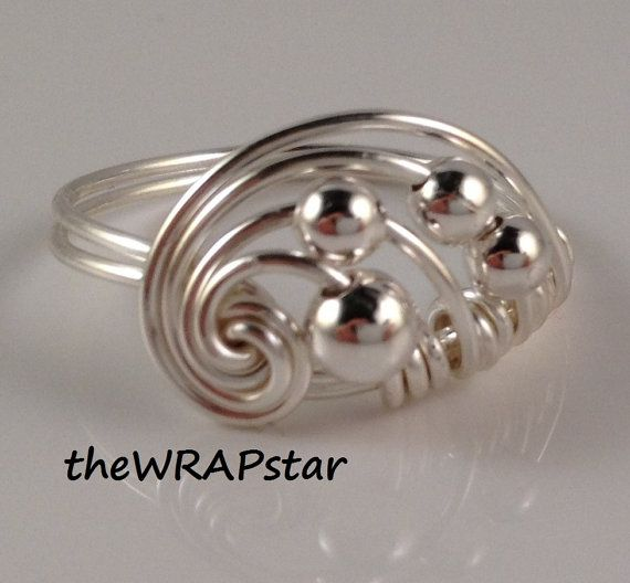 my original design cascade ring with silver beads $13.95 wire ...