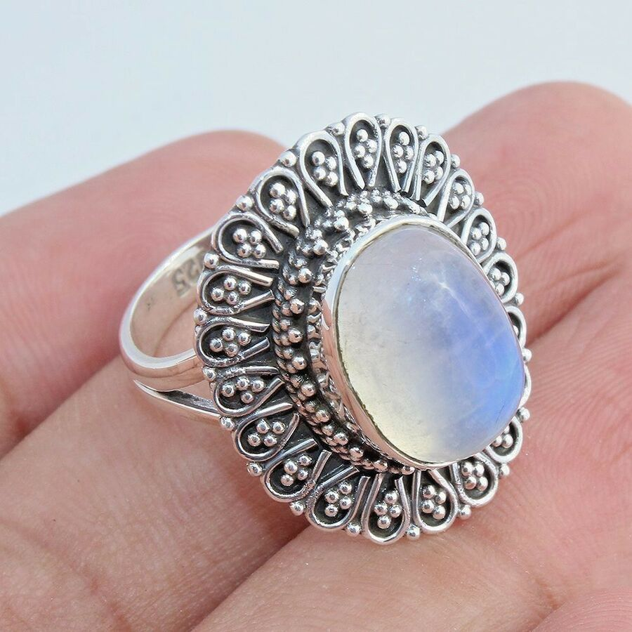 Aura Quartz Handcrafted Jewelry Solid 925 Sterling Silver Ring Size 10