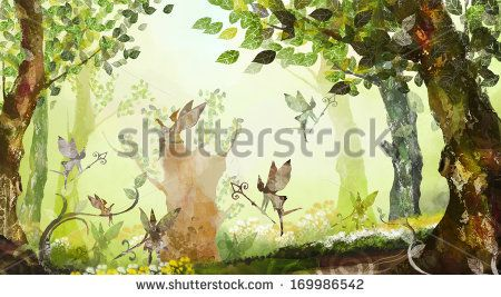 Fairies dancing and flying in the forest.