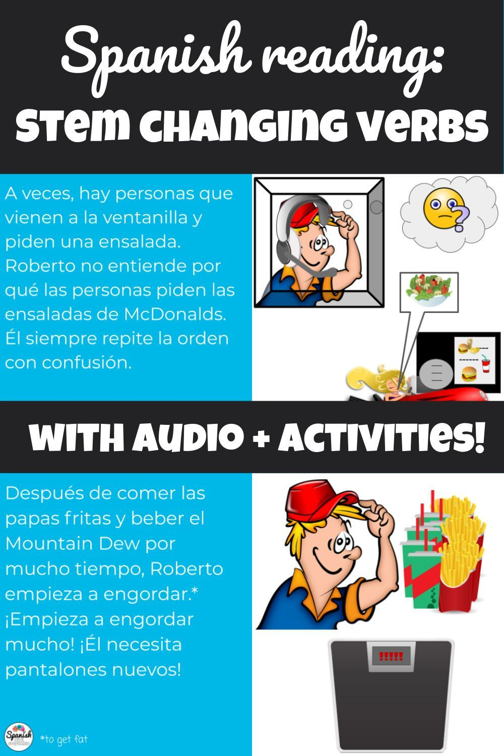 Stem Changing Verbs In Spanish Story With Audio Distance Learning Reading Comprehension Questions Spanish Reading Activities Conjugation Practice [ 1500 x 1000 Pixel ]