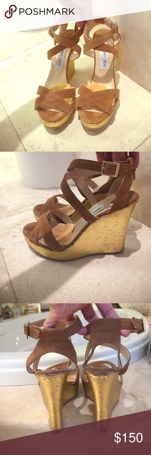Jimmy Choo wedges Dark camel suede and gold Jimmy Choo wedges. Ankle strap helps adjust for a perfect fit. Gold cork wedge with camel suede straps. Very gently worn and in near perfect condition. Great buy! No box but dust bag included. Jimmy Choo Shoes Wedges