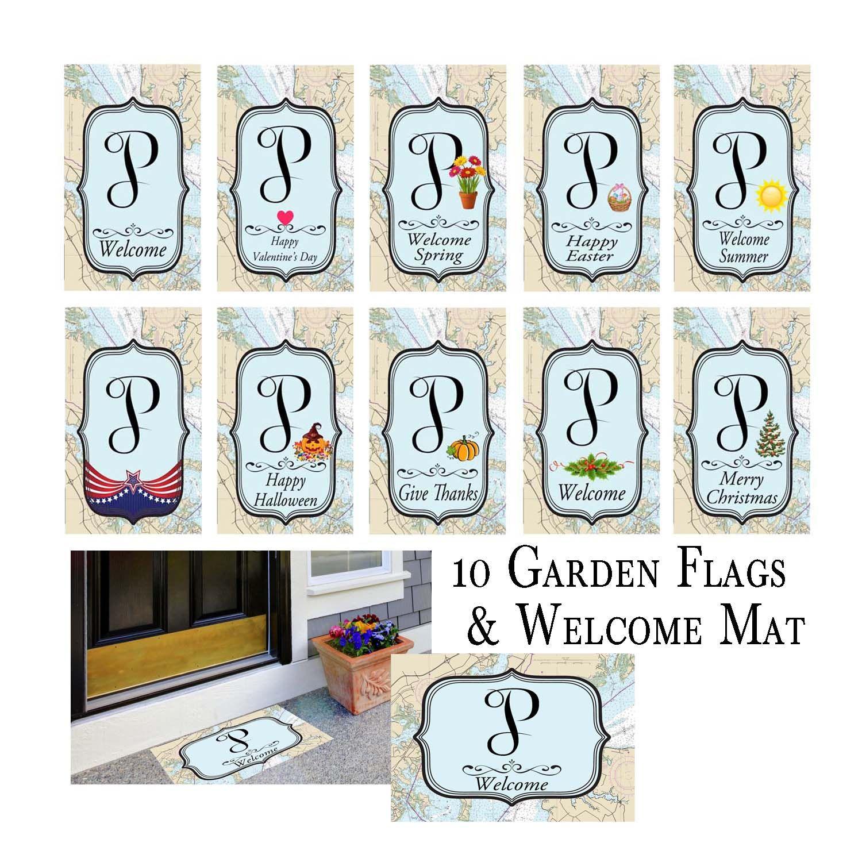 Monogram Initial Letter Q Nautical Garden Flag bundle