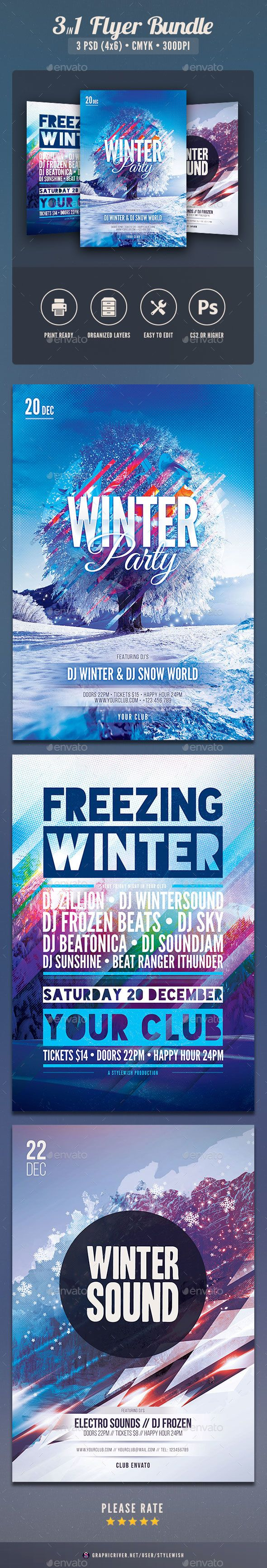Winter Flyer Bundle Vol  Typo Font Logo And Flyer Template