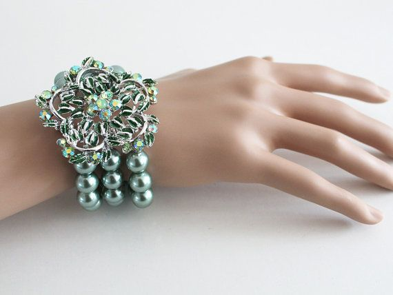 Bridal Cuff Bracelet in Sage Green by AlixH2010 on Etsy, $40.00