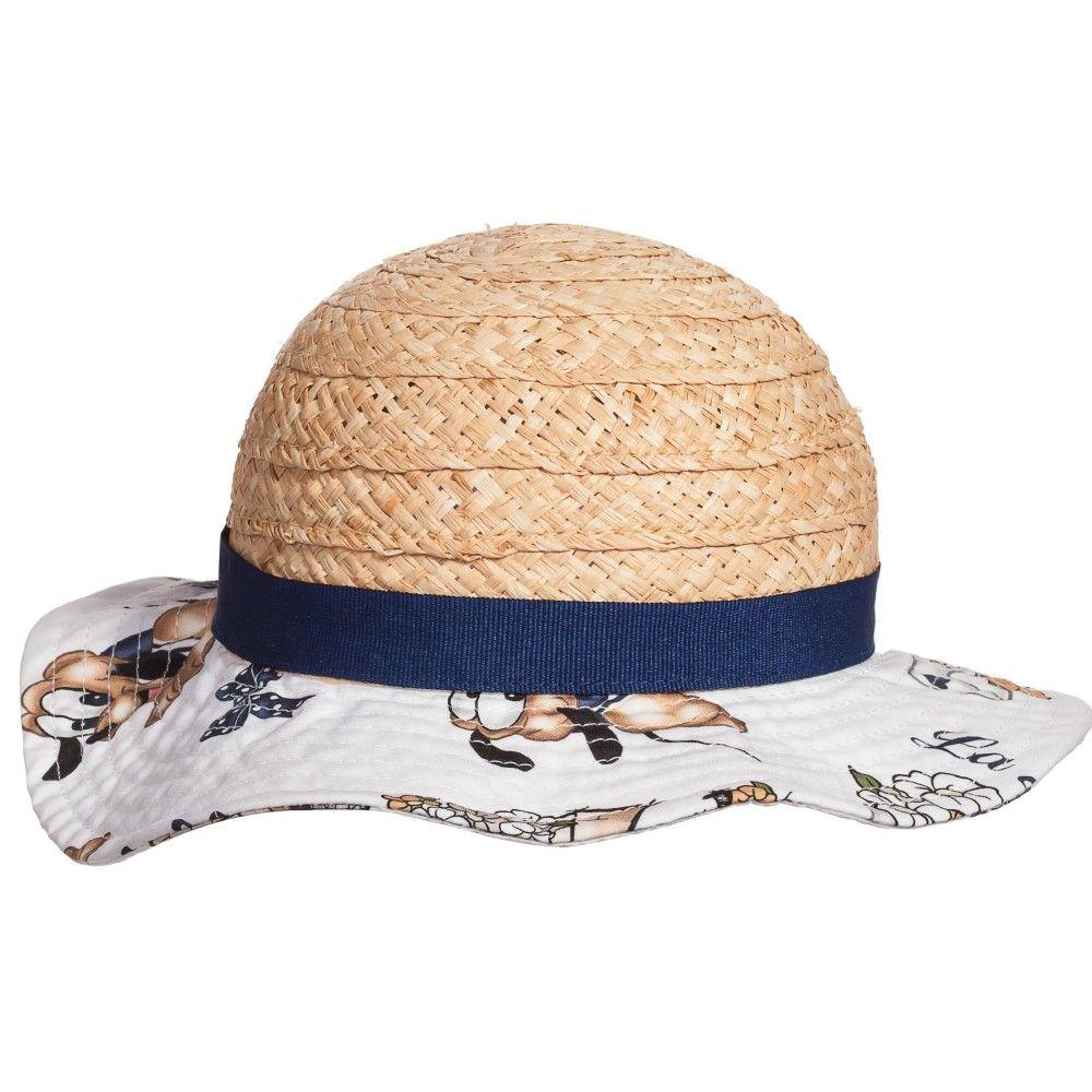 996c713b5 Baby girls straw hat with  Pluto  brim by Monnalisa Bebé. This super ...