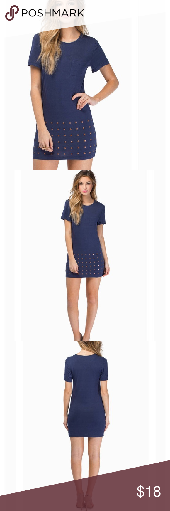 Navy blue dot dress navy blue short sleeve dot dress with chest