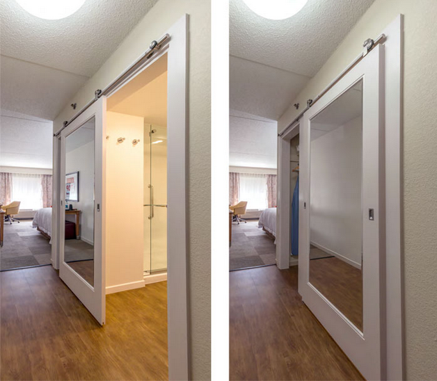 Hampton Inn White Painted Mirrored Sliding Barn Door For Bathroom And  Closet  Forest Bright |