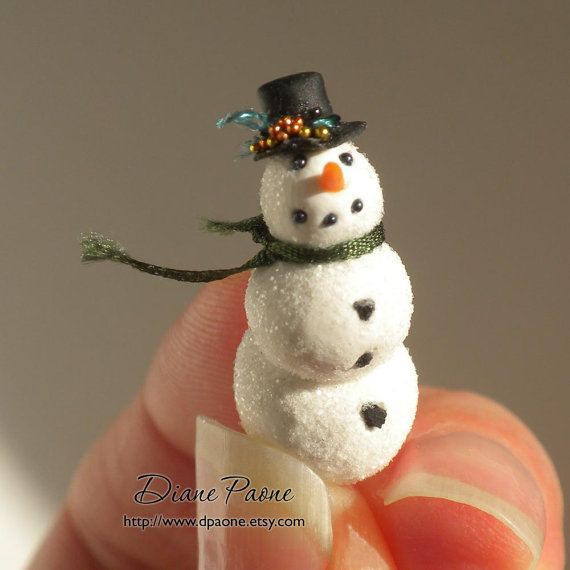Tiny Snowman with Green Silk Scarf  Dollhouse Miniature by dpaone