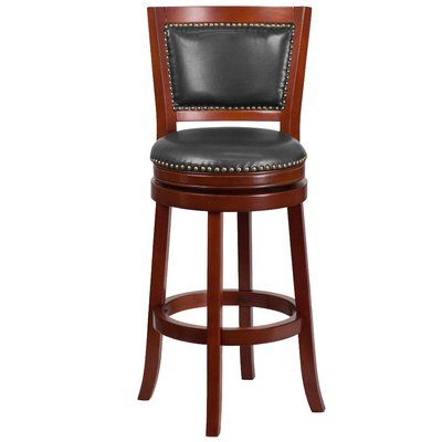 Darby Home Co Snavely 30 Swivel Bar Stool Color Dark Cherry
