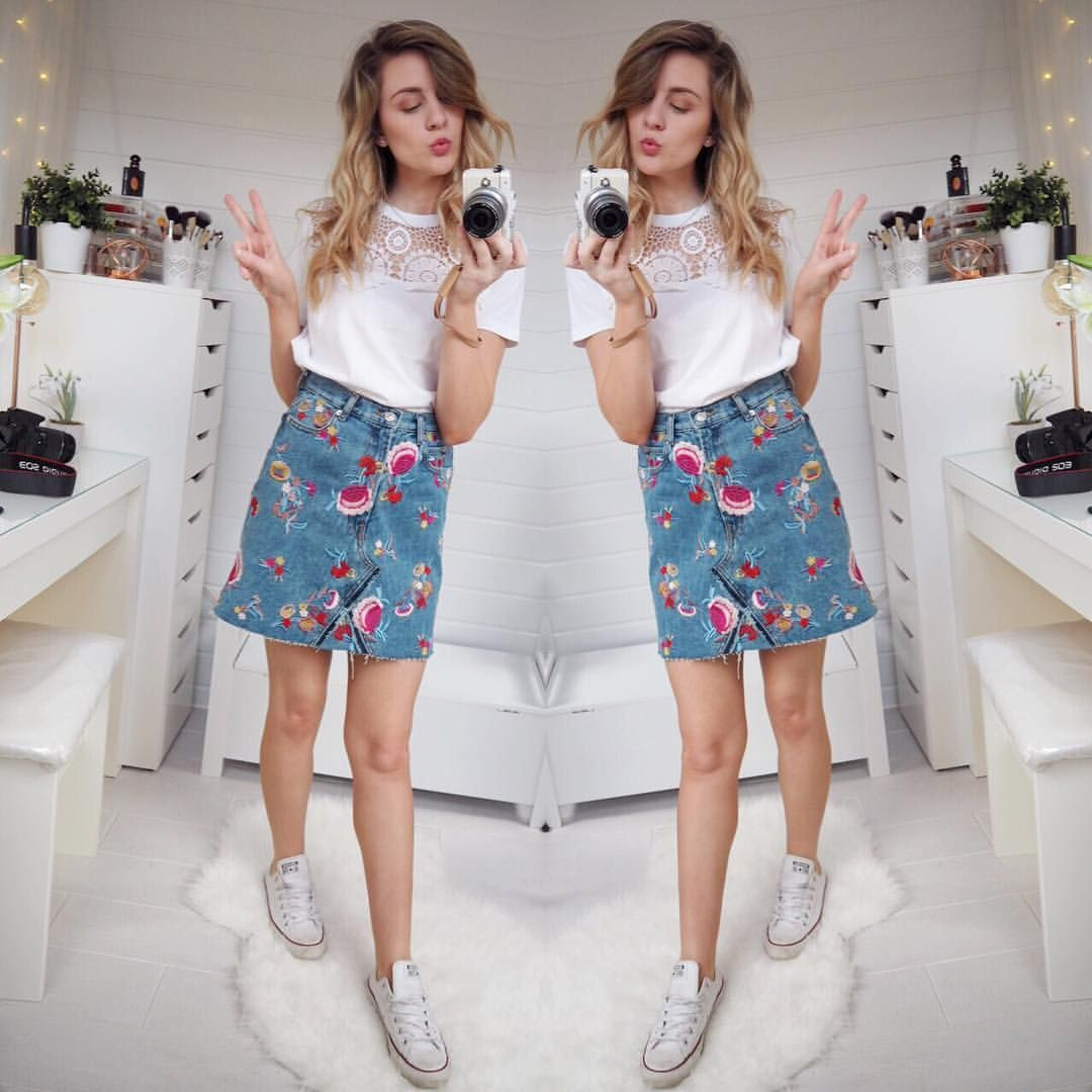 eadce97f66ea Embroidered skirt and converse spring summer outfit Zara Skirts