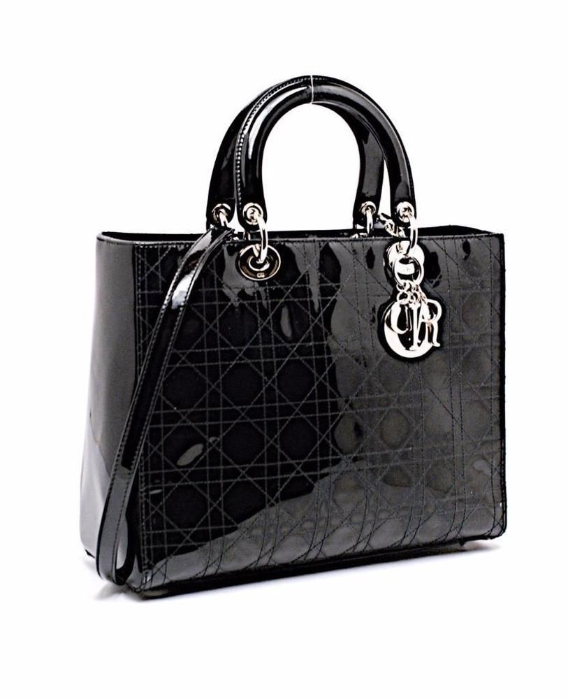 c39816b042 Christian Dior LADY DIOR Large Black Patent Quilted Tote Shoulder Bag  Silver HW #ChristianDior #Tote