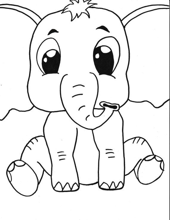 Baby Elephant Printable Coloring Page Kids Coloring Instant Download Art Black White Cartoon Elephant Coloring Page Black And White Cartoon Elephant Printable