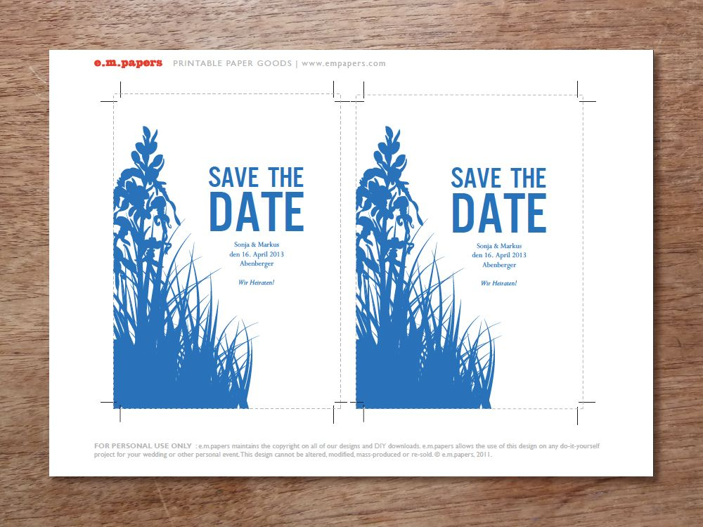 Printable Save the Date - Bluebell Blue garden, Wedding and Wedding
