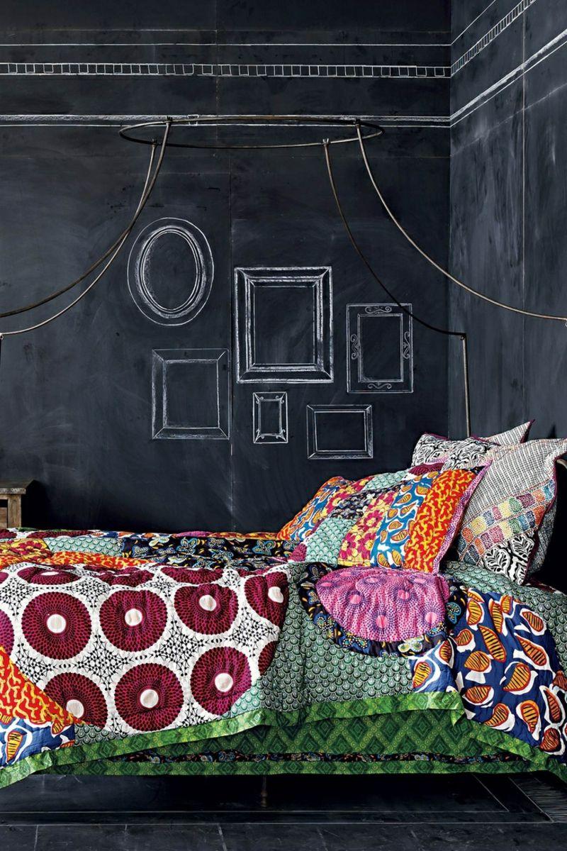 Kreide Wandfarbe schwarze wandfarbe schlafzimmer wandgestaltung kreide bunt