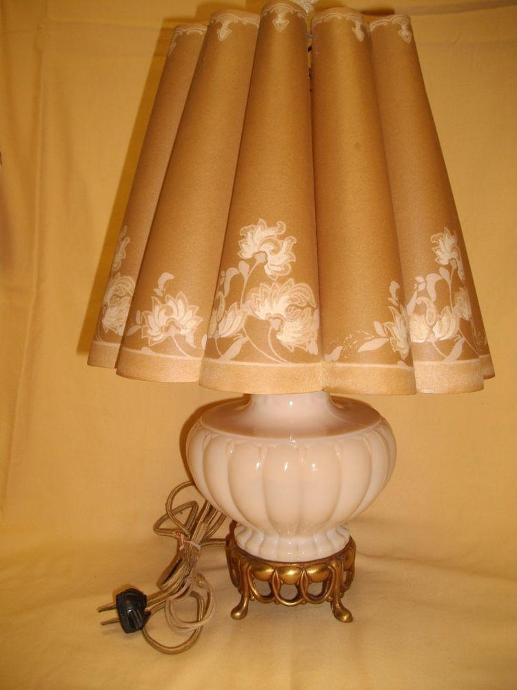 Vintage Aladdin Peach Alacite Glass Table Lamp and Shade