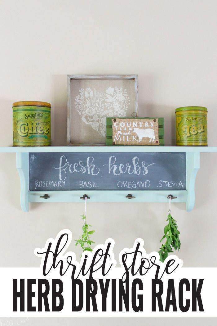 Thrift stores are packed with old wooden shelves, but don't overlook them! Upcycle it into your own DIY herb drying rack, with chalkboard paint so you can label your herbs.  #craft #diyproject #upcycle #thriftstore #herbs #gardening #domesticallycreative #thrifteddecor