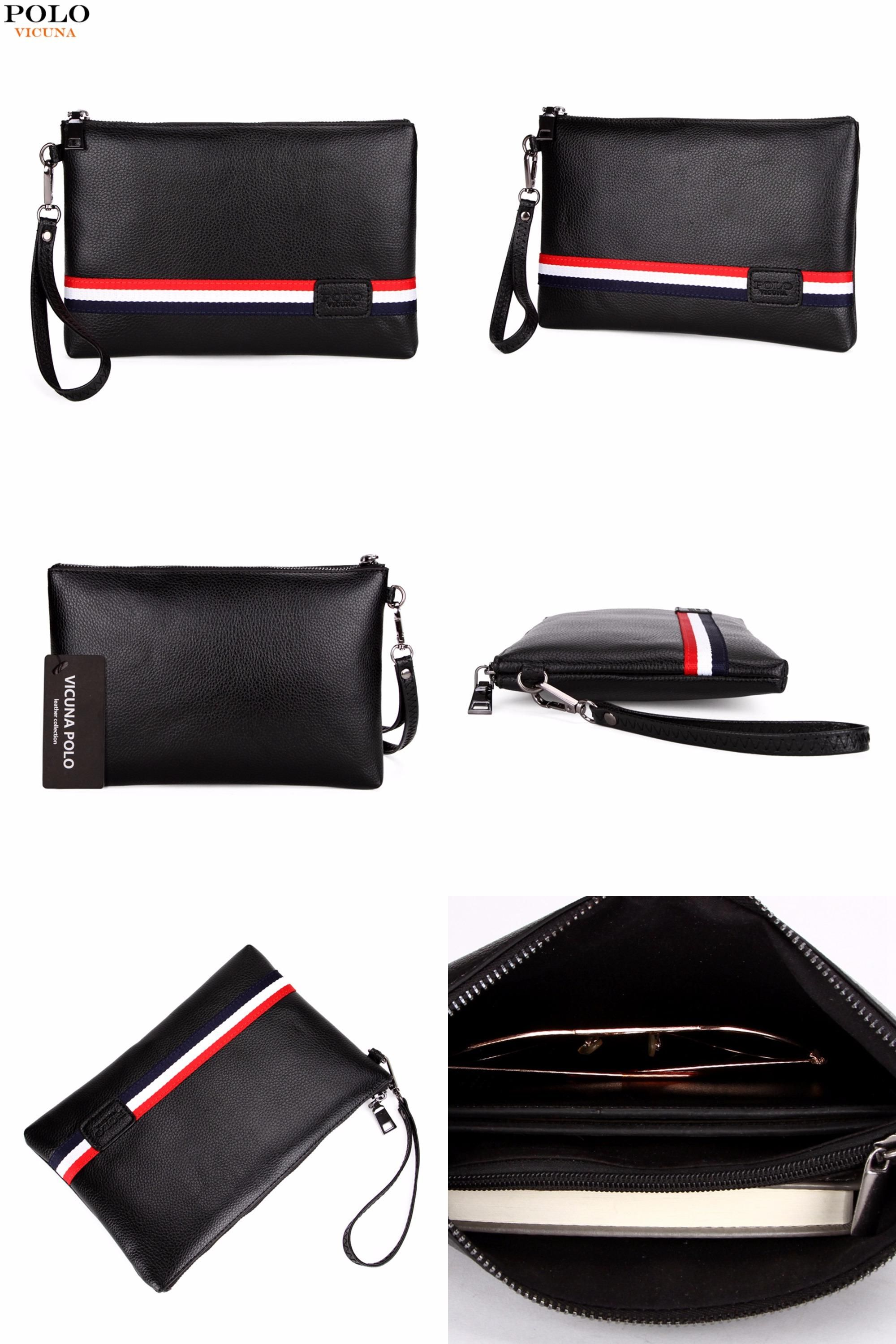 85253e8e300 [Visit to Buy] VICUNA POLO Fashion Classic Striped Design Men Clutch Wallet  Famous Brand Mens Clutch Handbag With Belt Large Envelope Bag New  #Advertisement