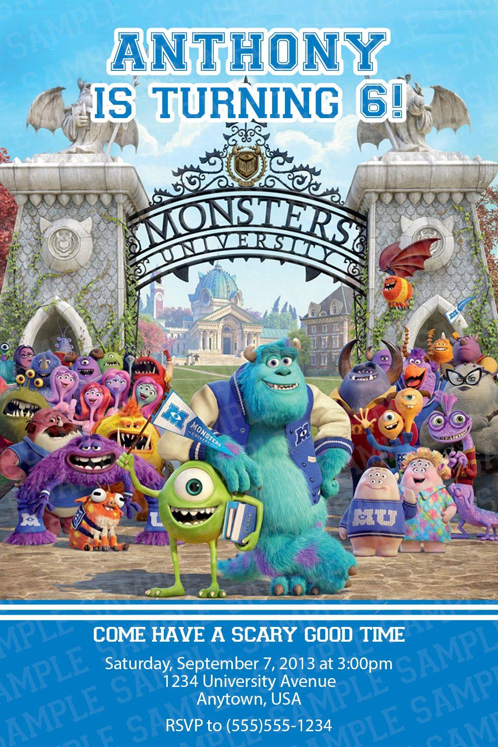 Monsters University Birthday Party Invitation $11 | Kids Birthday ...