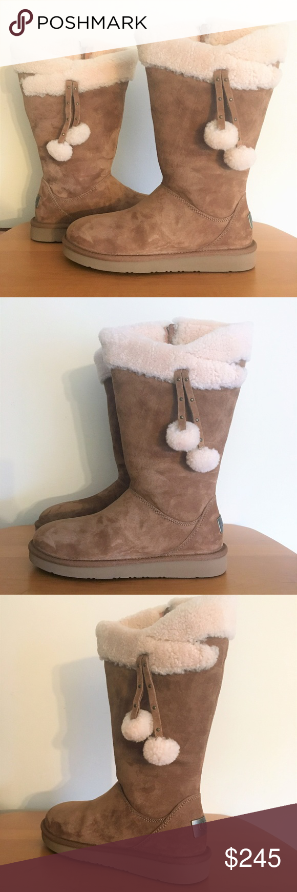 814ec5070b1 New UGG Plumdale Cuff Pom Pom Suede Boots Chestnut Crafted from rich ...