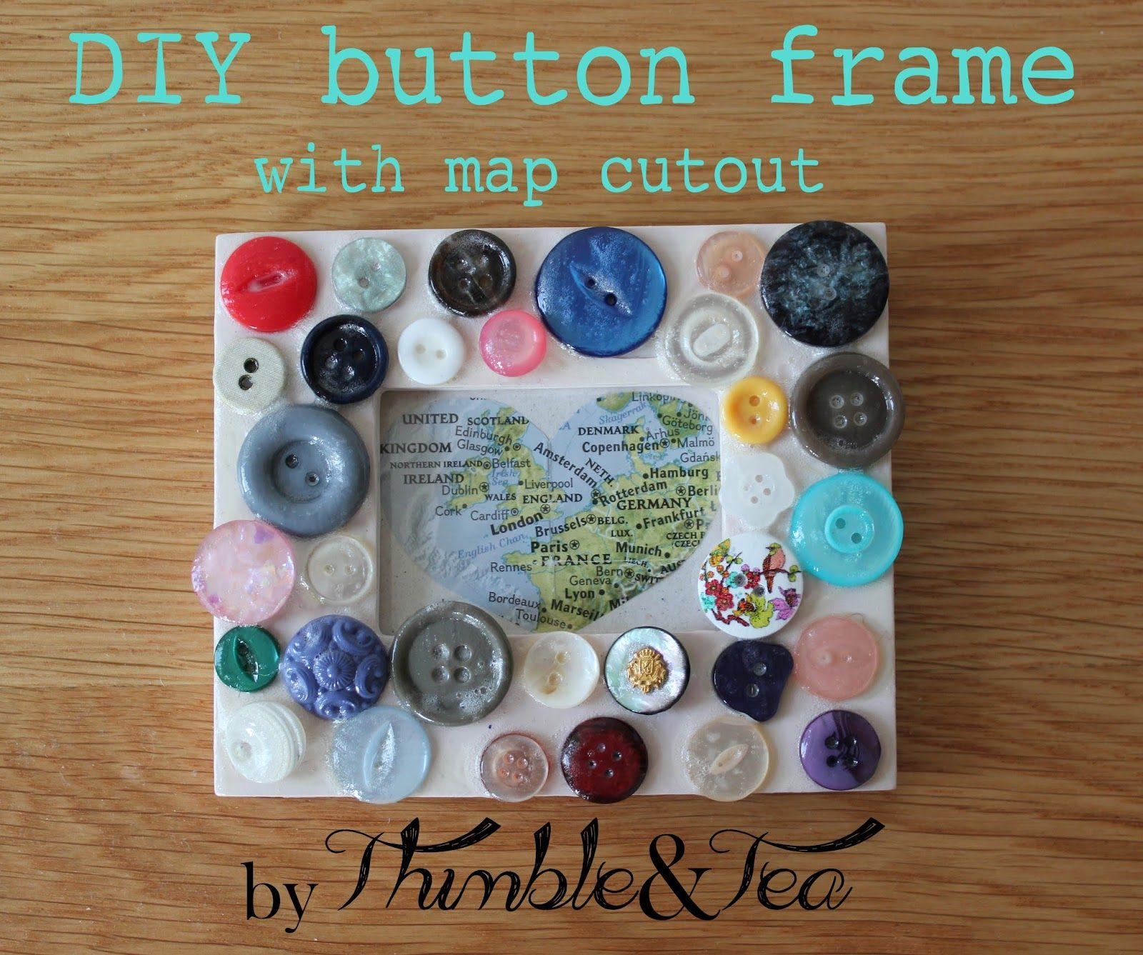 DIY button frame #DIY #craft #buttons #inspiration #thimbleandtea