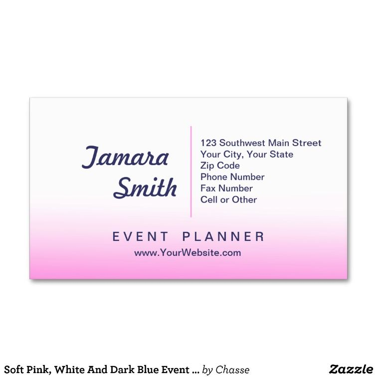 Soft Pink, White And Dark Blue Event Planner Business Card Pink - event card template