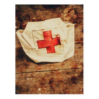 #vintage - #WW2 nurse hat. Army medical corps Postcard