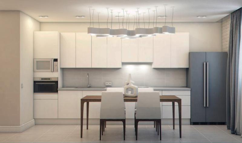 matt weiße Küche und hellgrauer Fliesenspiegel küche Pinterest - fliesenspiegel in der küche