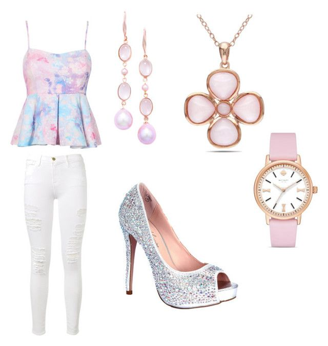 """""""Pink sunset"""" by adlih-elizabeth ❤ liked on Polyvore featuring Frame Denim, London Road, Allurez, Kate Spade, Lauren Lorraine, cute, Pink, beautiful and stylish"""