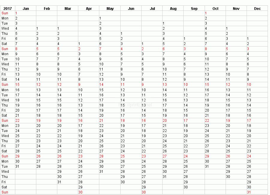 printable 2017 calendar blank template 2 compact year planner