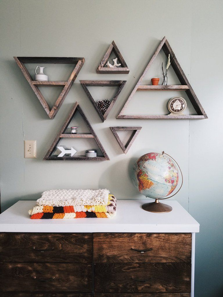set of 6 barnwood triangle shelves infinite abyss