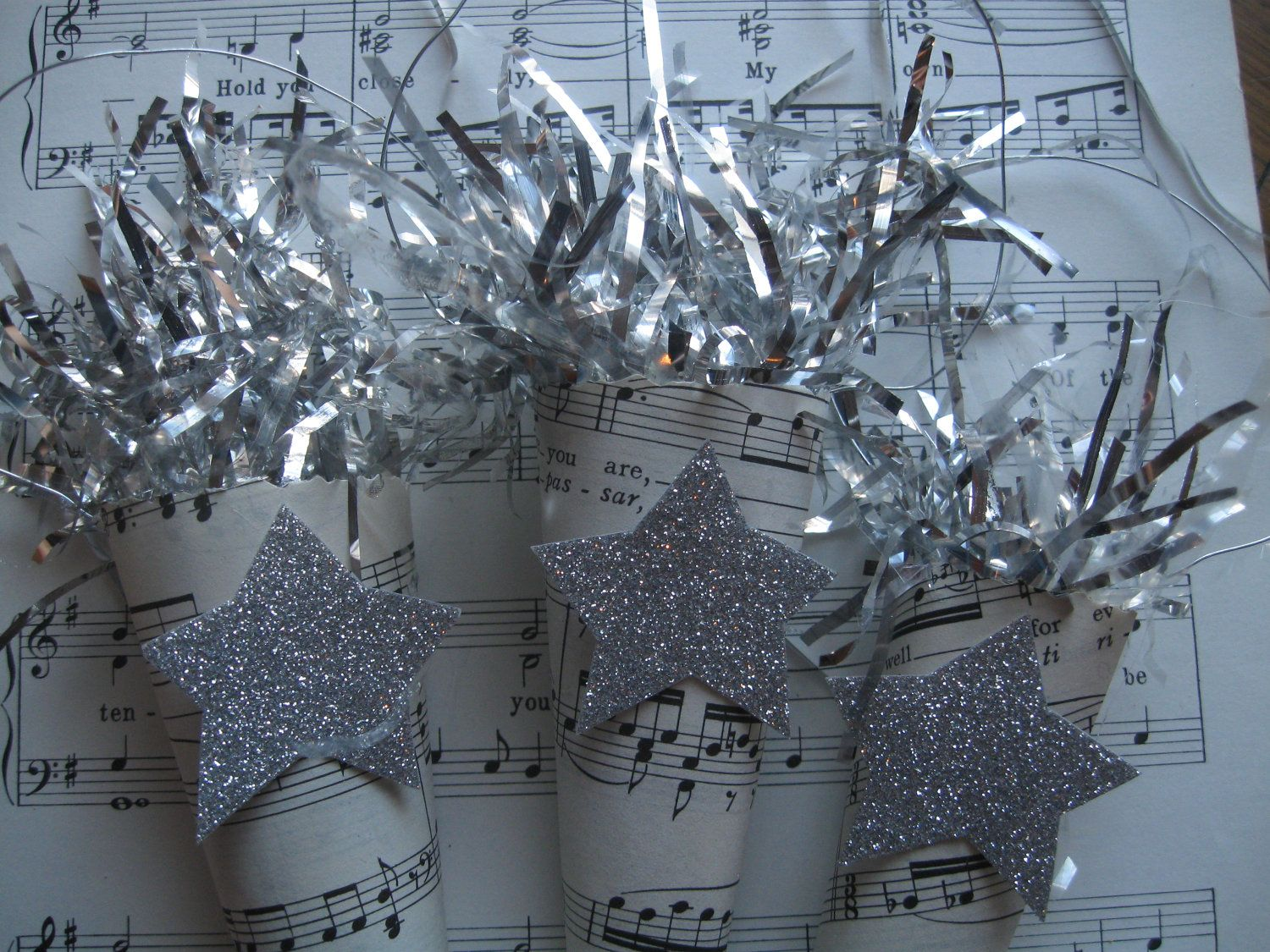 3 Piece Silver Star Cone Ornament with Tinsel by TheVelvetVine, $10.00