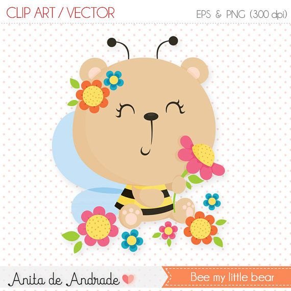 Abeja oso clipart uso comercial verano por AnitadeAndradeStore ...