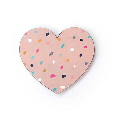 Love you to bits! Limited Edition Heart Brooch by Each to Own and Ma and GrandyThis little paper and wood brooch measures 5.5cm wide and features a pale pink dotty print by Ma and Grandy.Perfect on your favourite cardigan, jacket or blouse or a gift for someone you love to bits!Each brooch is lovingly made in Brisbane Australia from an original Each To Own wooden brooch using Tasmanian Myrtle. The backing card and dotty prints are designed by Ma and Grandy.Availabl...